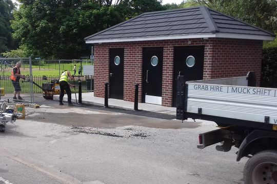 Public toilet facilities being completed in Wilmslow, Cheshire